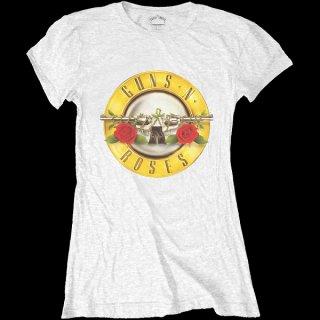 GUNS N' ROSES Classic Bullet Logo White, レディースTシャツ