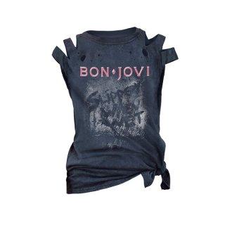 BON JOVI Slippery When Wet Acid Wash/cut, レディースTシャツ