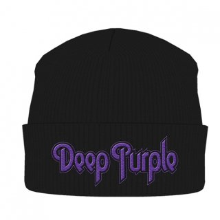 DEEP PURPLE Logo Black, ニットキャップ