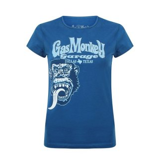 GAS MONKEY GARAGE Tonal Monkey Classic Blu, レディースTシャツ