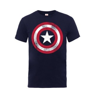 MARVEL COMICS Captain America Distressed Shield, Tシャツ