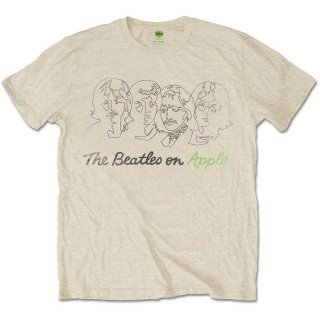 THE BEATLES Outline Faces On Apple 2, Tシャツ
