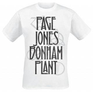 LED ZEPPELIN Page Jones Bonham Plant White, Tシャツ