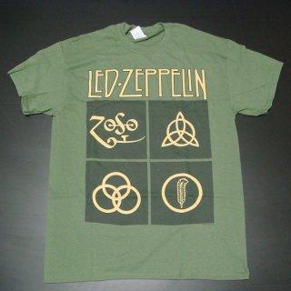 LED ZEPPELIN Gold Symbols In Black Square, Tシャツ