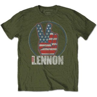 JOHN LENNON Peace Fingers US Flag, Tシャツ<img class='new_mark_img2' src='https://img.shop-pro.jp/img/new/icons5.gif' style='border:none;display:inline;margin:0px;padding:0px;width:auto;' />