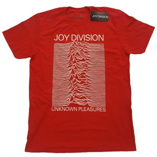 JOY DIVISION Unknown Pleasures White On Red, Tシャツ