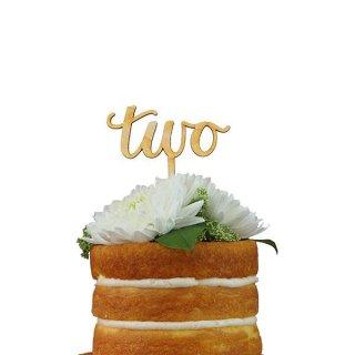ケーキトッパー TWO スクリプト 木製