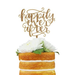 ウエディングケーキトッパー Happily Ever After グリッターアクリル製 カリグラフィ