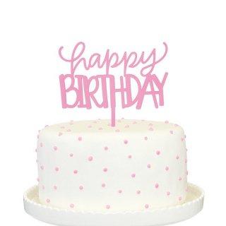 ケーキトッパー HAPPY BIRTHDAY ピンク