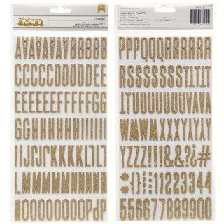 【American Crafts】アルファベット&数字  ゴールドラメ ステッカー ミニサイズ ぷっくりシール SALE