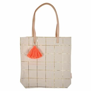 【MeriMeri】ネオンオレンジのフリンジがついたゴールド箔プリントの格子柄トートバッグ(30-0075) SALE