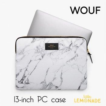 【WOOUF!BARCELONA】13インチ PCケース【White Marble】