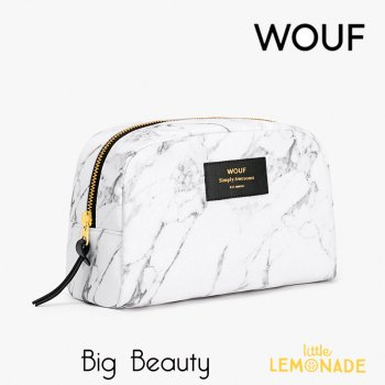 【WOUF!】 化粧ポーチ 【White Marble】 Big Beauty