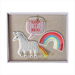 【Meri Meri】刺繍ブローチ 【Unicorn・ユニコーン・レインボー】