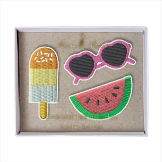 【Meri Meri】刺繍ブローチ 【Summer・アイス・スイカ・サングラス】