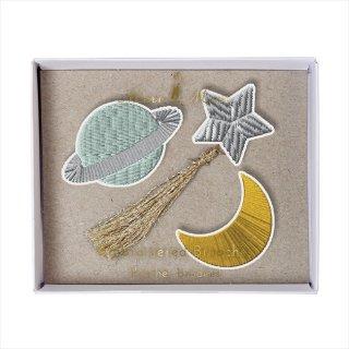 【Meri Meri】刺繍ブローチ 【Space・宇宙・月・星】