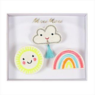 【Meri Meri】刺繍ブローチ 【Weather・太陽・クラウド・レインボー】