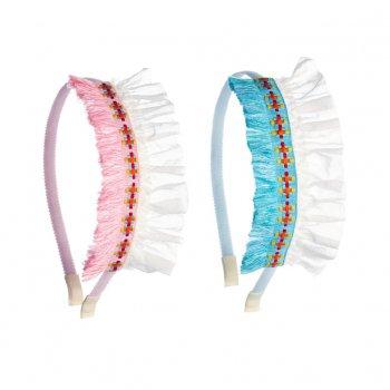 【ooahooah ウーアウーア】ネイティブアメリカン風 カチューシャ /ピンク or ブルー 全2種 SALE