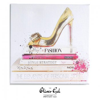 【Oliver Gal Art】 GOLD SHOE AND FASHION BOOKS (13071)
