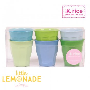 【RICE】メラミンカップ ブルー&グリーン Sサイズ6個セット (MELCU-6SGB)