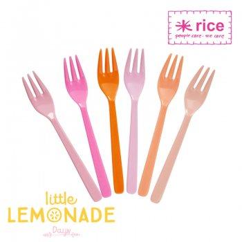 【RICE】メラミンケーキフォーク6本セット/Pink&Orange (MESFO-6SIOXC)