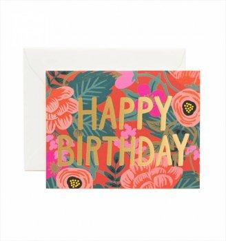 【RIFLE PAPER】 バースデーカード/Poppy Birthday(ポピーフォイル) (GCB034)