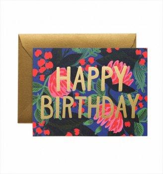 【RIFLE PAPER】バースデーカード/ Floral Foil Birthday (フローラルフォイル) (GCB018)