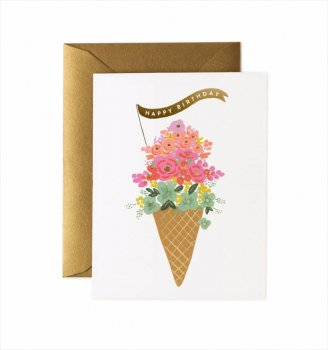 【RIFLE PAPER】バースデーカード/ Ice Cream Birthday(アイスクリームバースデー) (GCB039)