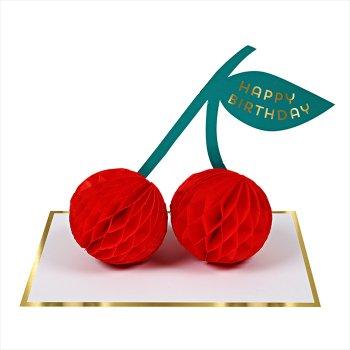 【MeriMeri】HAPPY BIRTHDAY 3D さくらんぼ 立体バースデイカード(16-0185H)