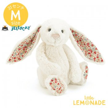 【Jellycat】 Blossom Cream Bunny Mサイズ 花柄x白 うさぎ バニー ぬいぐるみ ジェリーキャット クリーム ホワイト (BL3CBN) 【正規品】