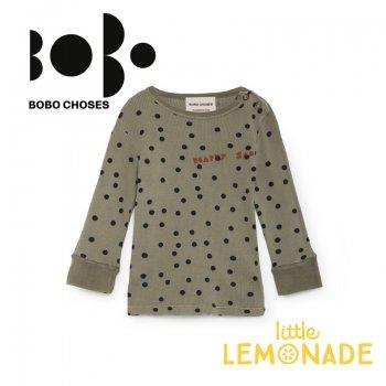 【BOBO CHOSES】12ヶ月から24ヶ月 ドット柄 カーキ テレコ素材 長袖Tシャツ(218171) AW SALE