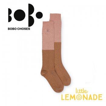 【BOBO CHOSES】ロング ソックス ジュニア ラメ ブラウン×ピンク(12.5-14cm/14.5-16cm 16.5-18cm)(218151) AW SALE