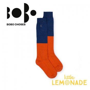 【BOBO CHOSES】ロング ソックス ジュニア ブルー×オレンジ(12.5-14cm/14.5-16cm 16.5-18cm)(218151) AW SALE YKZ
