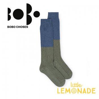 【BOBO CHOSES】ロング ソックス ジュニア ブルー×グリーン(12.5-14cm/14.5-16cm 16.5-18cm)(218151) AW SALE YKZ