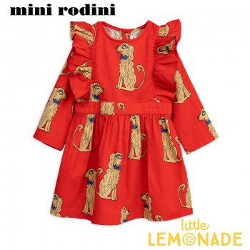 【Mini Rodini】 アメリカンコッカースパニエル ワンピース  【116/122】 5-7歳  Spaniels woven ruffled dress AW SALE
