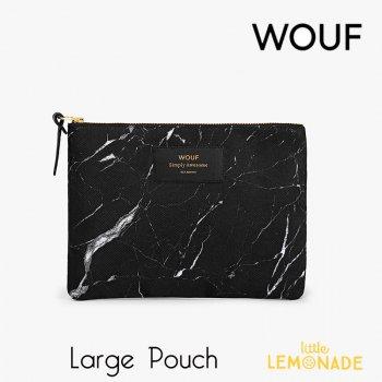 【WOUF】ラージポーチ 【Black Marble】黒 大理石柄 石 マーブル(WOOUF!) (ML170007)