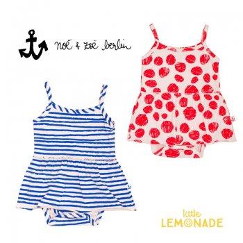 【Noe & Zoe】スカート付きタンクボディ【12-18m/18-24m】red dots・blue stripes ワンピース ブルマ ロンパース (S19006)SS SALE YKZ
