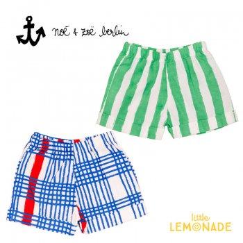 【Noe & Zoe】ストライプ ショートパンツ【18-24m】 Green stripes・Blue gingham  ハーフパンツ (S19041) SS SALE