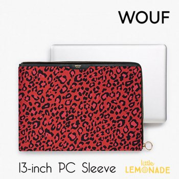 【WOUF】13インチ PCケース 【Red Leopard】 赤 ヒョウ柄 サテン生地 パソコン用スリーブ Macbook Pro 13inch PC Sleeve WOOUF!(SA190001)