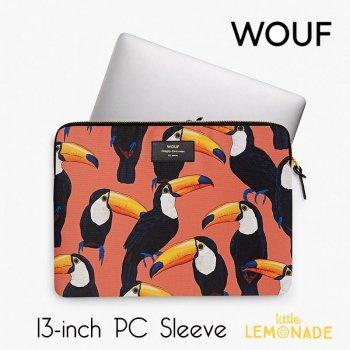 【WOUF】13インチ PCケース 【Toco Toucan】 南国 鳥 オオハシ パソコン用スリーブ(WOOUF!) S190003