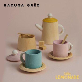 【Raduga Grez】 ティーセット ピンク&マスタード ロシア製 木製 おもちゃ おままごと  【Tea set mustard and pink】 RG02005