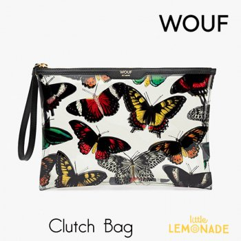 【WOUF】  クラッチバッグ Papillons クリアポーチ 蝶 蝶々 バタフライ Butterfly 小物入れ セカンドバッグ Clutch Bag 透明 バッグ (CNA190002)