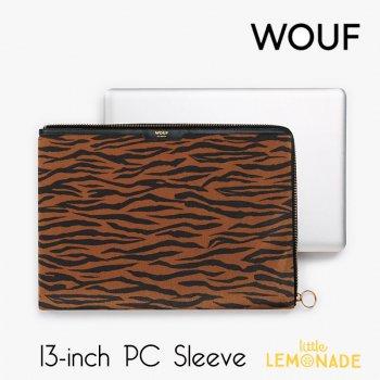 【WOUF】 13インチ PCケース【Tiger】 パソコン用スリーブ タイガー トラ柄 虎 アニマル フェイクファー ハラコ   (SA190004)