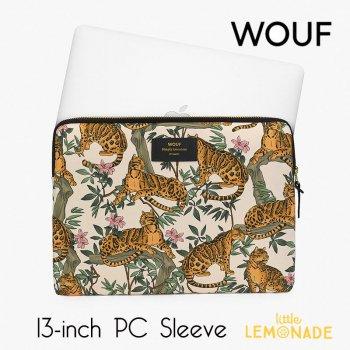 【WOUF】 13インチ PCケース【Lazy Jungle】  パソコン用スリーブ パソコンケース ヒョウ レオパード ボタニカル  (S200007)