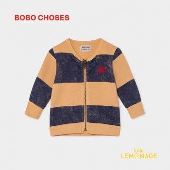 【BOBO CHOSES】 STRIPED SATURN ZIPPED SWEATSHIRT ストライプ サターン ジップスウェット 12M/24M/36M ベビー服 ボボショーズ AW SALE