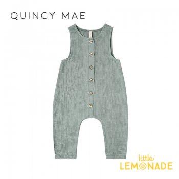 【Quincy Mae】 ジャンプスーツ Ocean【6-12カ月/12-18カ月/18-24カ月/2-3歳】Woven Snap Jumpsuit ノースリーブ ロンパース YKZ