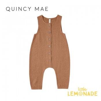 【Quincy Mae】 ジャンプスーツ Rust【6-12カ月/12-18カ月/18-24カ月/2-3歳】Woven Snap Jumpsuit ノースリーブ ロンパース YKZ
