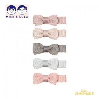 【Mimi&Lula ミミアンドルーラ】 MARTHA BOW SALON CLIPS / ピンク ベージュ グレー リボンヘアクリップ5個セット(ML20202247)