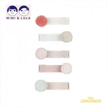 【Mimi&Lula ミミアンドルーラ】 POLLY POM POM SALON CLIPS/リボン素材ポンポン付きヘアクリップ5個セット ヘアアクセサリー 女の子(ML50205523)