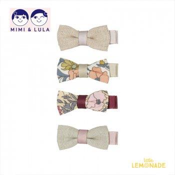 【Mimi&Lula ミミアンドルーラ】 CHERRY BLOSSOM IRIS CLIPS / 花柄&リネン素材 リボン型ヘアクリップ4個セット ヘアアクセサリー 女の子(ML50208823)